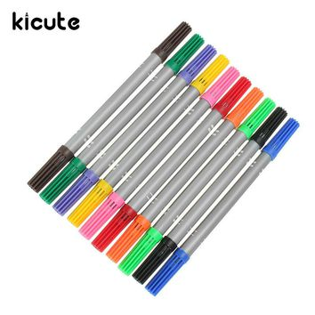 Kicute 10PCS Hot Double Head Marker Pens Watercolor Ink Thin Nib Crude Nib Fine Line Pen Color Marker Pen Paint Draw Supply