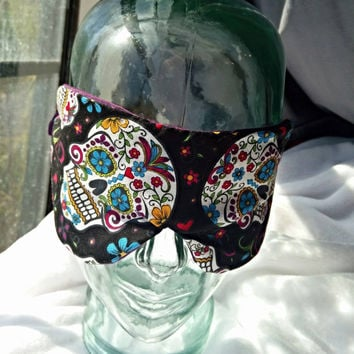 silk and cotton day of the dead sleep mask, purple silk dia de los muertes handmade sleep mask