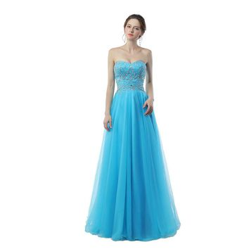 Light Blue Evening Dresses Exquisite Beaded Crystals High Quality Tulle Floor Length Corset Lace Up Formal Evening Gown
