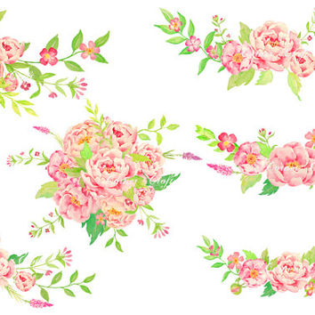 Watercolor wedding clipart - Peony bouquet, posy and corners  scrapbook wedding card greeting cards