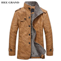 GRAND Men's PU  Leather Jackets & Coats New Arrival Winter Thick Casual Jaqueta Masculino M-4XL Size 2 Colors