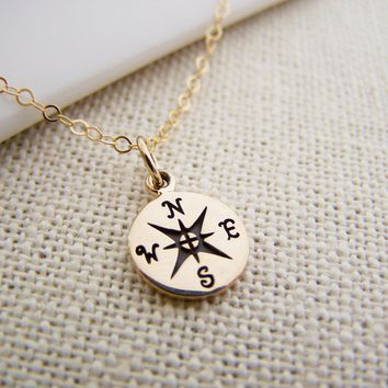Compass Necklace - Gold Compass Necklace - Lost Without You Compass Tiny 14k Gold Filled Necklace / Gift for Her