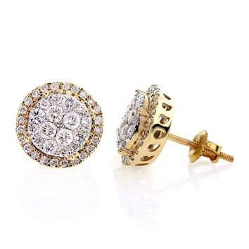 1.13 Ctw, White Round Brilliant Cut Diamond Prong Setting Cluster Women's Stud Earrings In 14K Gold