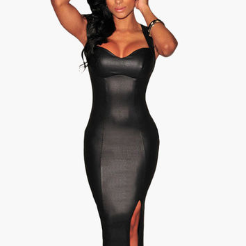Black Cut-Out Back with Low Side Slit Leather Bodycon Midi Dress