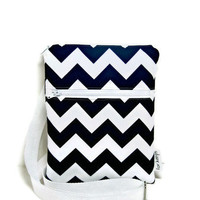 Cross body bag Navy blue chevron sling travel by forkeepsamanda