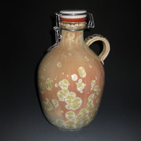 64 Oz Ceramic Porcelain Amazing Pink Gold Crystalline Glazed Art Nouveau Lady Handle Lidded Wide Neck Flip Swing Top Growler Bottle