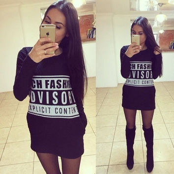 Black Women Dress Casual Vintage Print Parental Advisory = 1931514820