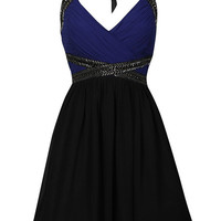 Blue and Black Halter Neck Dress with Embellished Waist