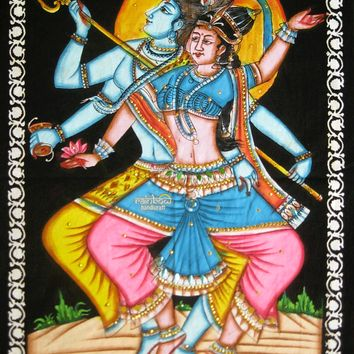 celestial shiva dance parvati sequin wall hanging cotton made hand painting hindu religious tapestry ethnic home decor art India gift