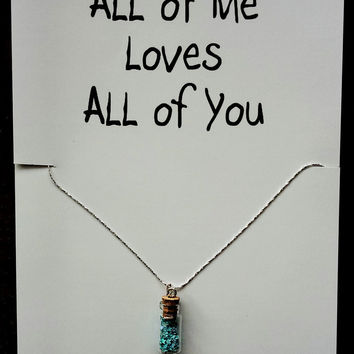 FREE SHIPPING I Love You Miss You Bottle Gift Valentine's Day Woman Pendant Engagement Necklace