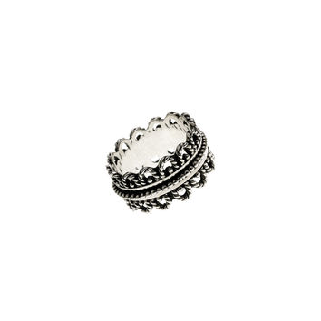 Eyelet Embroidered Sterling Silver Spinner Ring