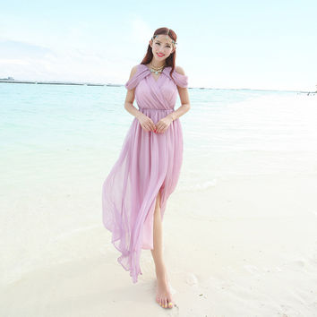 Summer Chiffon Irregular Dress Sea Beach Bohemia Prom Dress Slim Maxi Dress [6268822342]