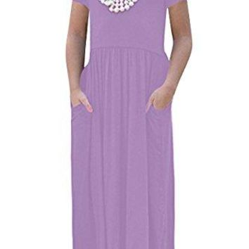 RBwinner Girls Short Sleeve Round Neck Pocket Casual Long Maxi Dress Size 413 Years Old