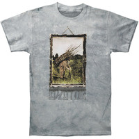 Led Zeppelin Men's  Man With Sticks Tie Dye T-shirt Light Grey