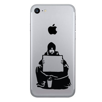 Banksy iPhone 6 Decals - Keep Your Coins iPhone 7 Plus Sticker - I Want Change Art - Vinyl Decals - Galaxy s7 stickers - banksy silhouette