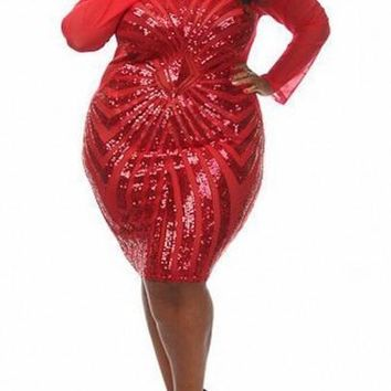 Red Splicing Geometric Sequin Grenadine See-through Bodycon Plus Size Midi Dress