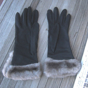 Cruelty-Free Cruella DeVille Faux Fur Cuff Gloves - Women's Black Winter Gloves with Tawny Brown Faux Fur Cuffs ; Small-Med