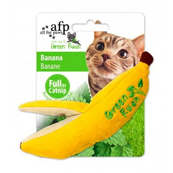 All For Paws Green Rush Cat Toy Banana with Catnip