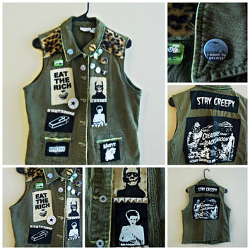 Horror Punk Vest // Stay Creepy Crust Punk // Creepy cute Vest