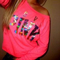 DCCKL72 Victoria's Secret PINK Women's Fashion Letter Print Round neck Long-sleeves Pullover Tops