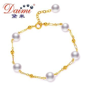 DAIMI Gold Bracelet 6-7mm White Freshwater Pearl Jewelry For Women Name Brand With Box for Gift