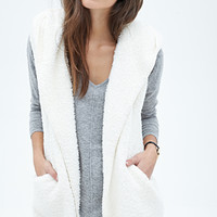 FOREVER 21 Hooded Faux Shearling Vest Cream