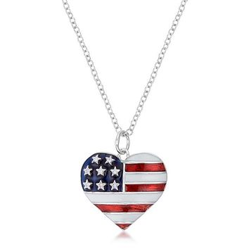 Love For Stars And Stripes - Women's Rhodium Plated Brass Heart Shaped Flag Necklace With CZ Stars