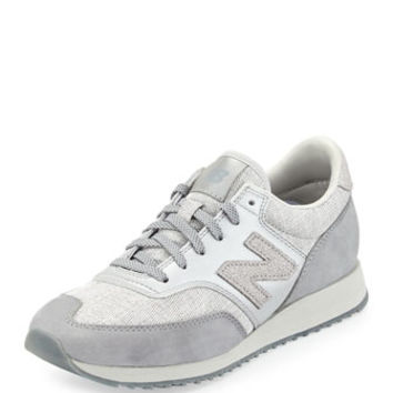 New Balance 620 Suede & Woven Trainer, Gray