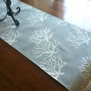 Nautical Table Runner - One, Taupe Wedding Table Decor, Beach Table Decor, Ocean Tablecloth, Sea Coral Decor, Ocean Decor