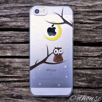 MADE IN JAPAN Hard Shell Clear Case for iPhone SE - Cute Owl
