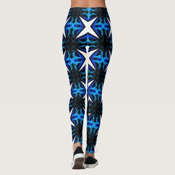 CRISS CROSS LEGGINGS WITH WHITE STARS AND BLUE CRO