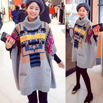 knitted sweater dressplus size women's oversized pullover sweaters fall clothes casual turtleneck ladies winter sweaters G01