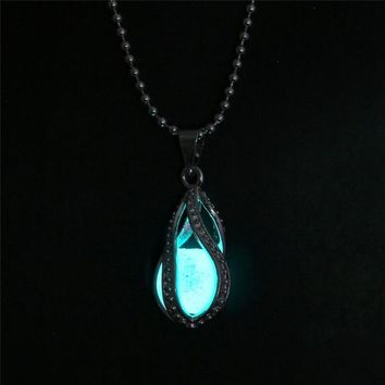 Steampunk Glow In The Dark Necklace Silver Color with Luminous Stone Locket Pendant Long Bead Chain Mermaid Necklace Jewelry