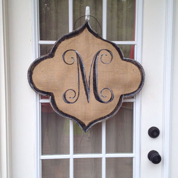 Large Burlap Door Hanger with Fancy Vine Monogram