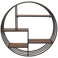 Round Metal Wall Rack w/ Wood Shelves, Hooks & Mounted Coat Racks