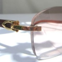 NEW CARTIER EYEGLASSES SUNGLASSES GLASSES  AUTHENTIC T8200523 Gold Brown Lens