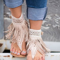 Love Festival Laser Cut Fringe Sandals (Cream)