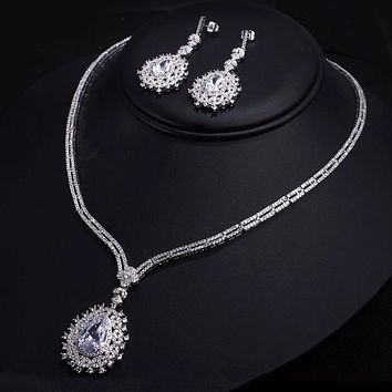 Bohemia 2 pieces Jewelry sets Wedding Style CZ Zirconia Pendant Drop Bridal Earrings Necklace Set