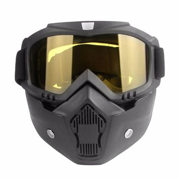 Motorcycle Unisex Vintage safety googles Cool Half Helmet Riding Mask Off-road Windproof Goggles with Adjustable Elastic Strap