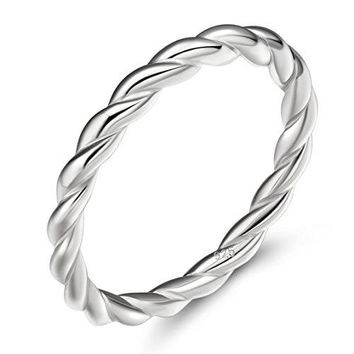 EAMTI 925 Sterling Silver Celtic Knot Ring Simple Criss Cross Infinity Wedding Band for Women Size 411