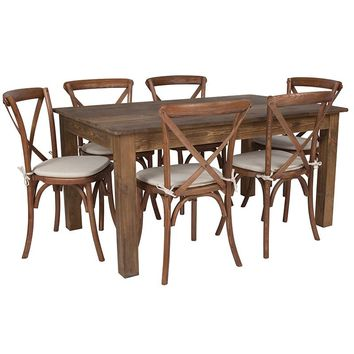 """60"""" x 38"""" Antique Rustic Farm Table Set with 6 Cross Back Chairs and Cushions [XA-FARM-19-GG]"""