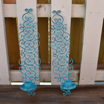 Ornate Metal Sconces upcycled aqua set of 2 candle holder bathroom decor bright housewares