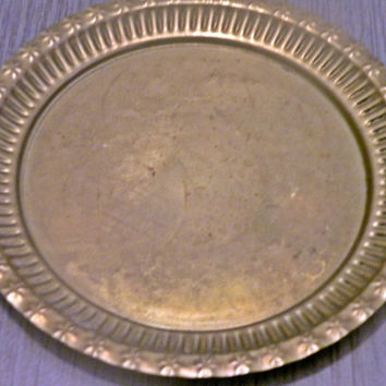 Vintage Decorated Brass Plate