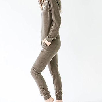 Jogger with Lace Up Sides - Olive