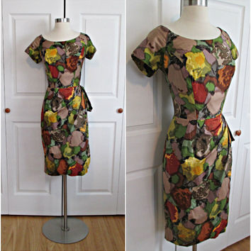 1950's Vintage Polished Cotton Watercolor by RubyFayesVintage