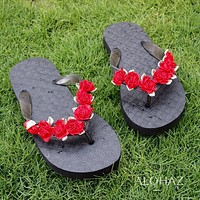 pretty blooms red hawaiian sandals*