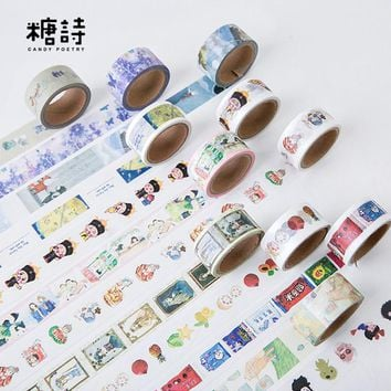 2cm*5m Candy Poetry Cartoon washi tape DIY decorative scrapbooking planner masking tape adhesive tape label sticker stationery