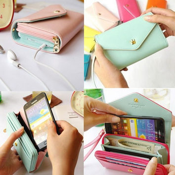 Mini Wallet PU Leather Case For iPhone 5 5S i5 / 4 4S / 6 6S 4.7/ Plus 5.5 for Samsung Galaxy S7 /S6 /edge S4 S5 Cover Universal