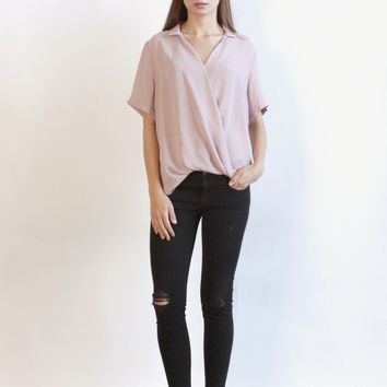 Women's Wrap Front Collared Short Sleeve Blouse