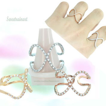 Stylish X- line ring/Large and delicate beautiful  Point ring/The best gift/Item just for you/sturdy plating